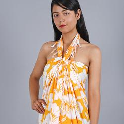Paréo Batik petit hibiscus Jaune