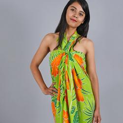 Paréo Batik fleur et feuille Vert