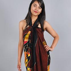 Paréo Batik Ethnik Dance tribale marron