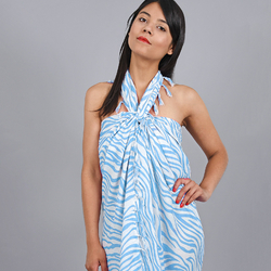 Paréo Batik zébré BLEU