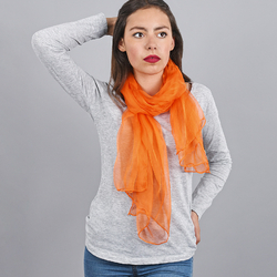 Foulard mousseline soie <br/>Orange uni