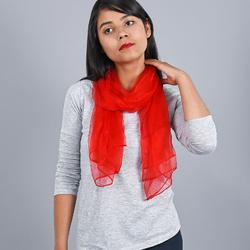 Foulard mousseline soie <br/>Rouge uni