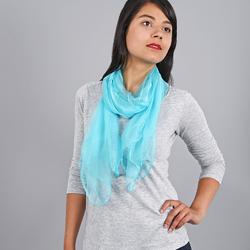 Foulard mousseline soie <br/>Bleu maya uni