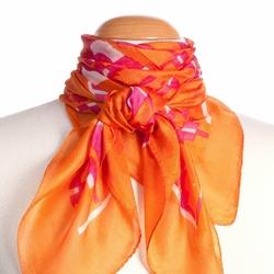 Carré de soie Indienne Fenêtres orange / fuchsia