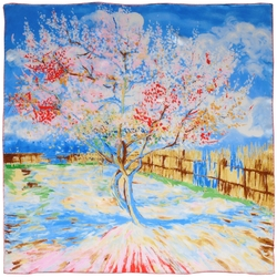 Carré de soie SilkArt <br/>Van Gogh <br/>Pêcher en fleurs