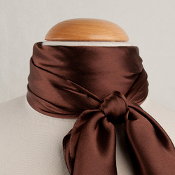 Grand foulard carré Polysatin MARRON uni