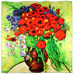 Carré de soie SilkArt <br/>Van Gogh <br/>Vase marguerites et coquelicots