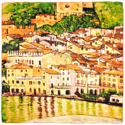 Carré de soie SilkArt <br/>Gustave Klimt <br/>Vue de Malcesine