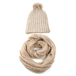 Snood et bonnet ample BEIGE