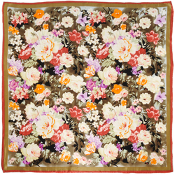 Carré de soie Premium Floral sur marron