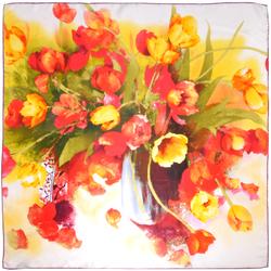 Carré de soie Premium Bouquet de couleurs