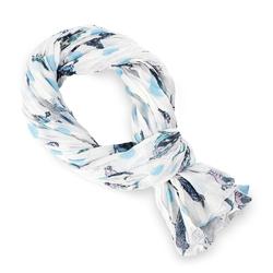 Chèche pur coton Luccel bleu sur blanc