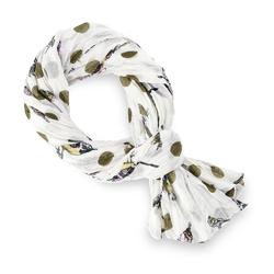 Chèche pur coton Luccel kaki sur blanc