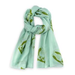 Foulard léger Hiboux sur vert