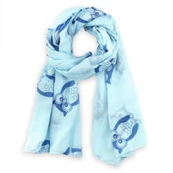 Foulard léger Hiboux sur bleu