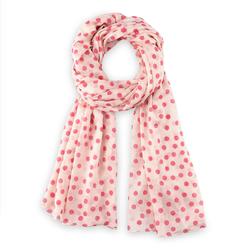 cheche élégant points roses sur blanc
