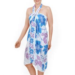 Paréo Batik new fleur Bleu