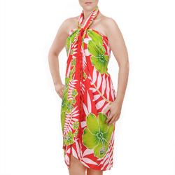 Paréo Batik fleur et fougère Rouge