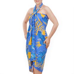 Paréo Batik fleur et feuille Bleu