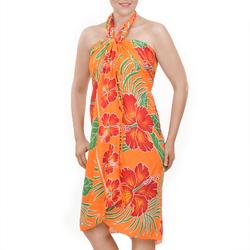 Paréo Batik fleur et feuille Pêche