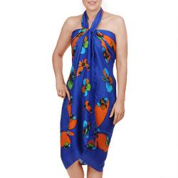 Paréo Batik Butterfly Orange sur bleu