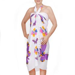 Paréo Batik Butterfly Violet sur blanc