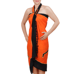 Paréo Batik Ethnik Porteurs orange