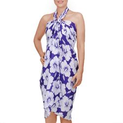 Paréo Batik petit hibiscus Violet