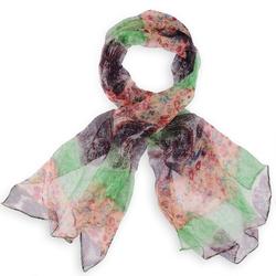 Foulard mousseline de soie <br/>Zenek vert orange noir
