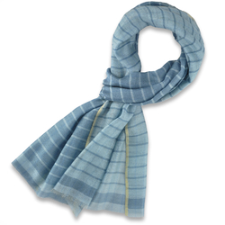 Etole soie coton Réversible bleu