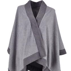 Poncho polaire duo Gris bande anthracite