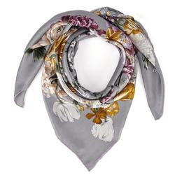 Carré de soie Premium <br/>Arabesque florale gris
