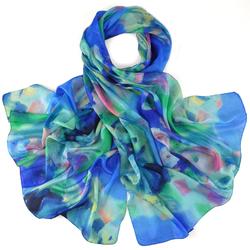 Etole soie Pastel floral Bleu