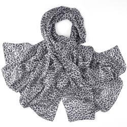 Etole soie Léopard gris