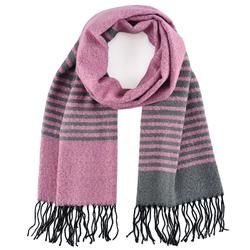 Echarpe chaude bicolore Rose bandes grises