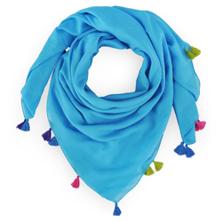 Foulard pompons Sana turquoise