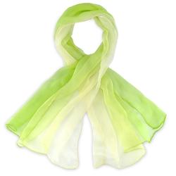 Foulard mousseline soie <br/>Vert anis dégradé