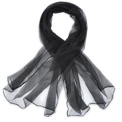Foulard mousseline soie <br/>Noir uni