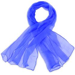 Foulard mousseline soie <br/>Bleu roi uni