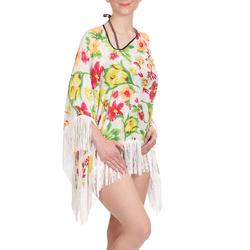 Tunique plage pancho Blanc motif floral