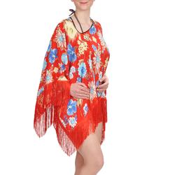 Tunique plage pancho Rouge motif floral