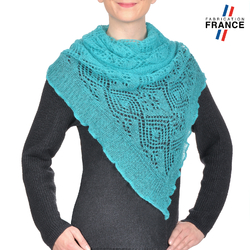 Echarpe triangle MAUDE <br/>Maille Turquoise