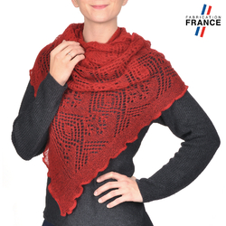 Echarpe triangle MAUDE <br/>Maille Rouge