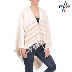 Poncho rayures SONIA <br>Blanc et Beige