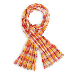 Echarpe Madras pur coton ORANGE / FUCHSIA