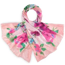 Etoles fine à pois blancs sur rose avec motif fleural