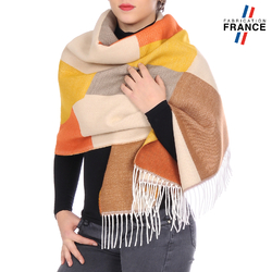 Châle patchwork WELA <br/>Beige et Orange