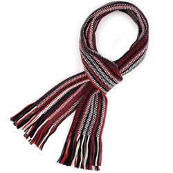 Echarpe à frange Maille chevrons Blanc, rouge et noir