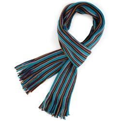 Echarpe à frange Rayures Marron, bleu, gris et violet