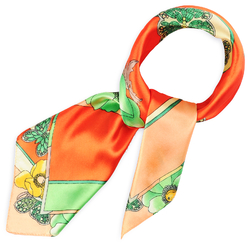 Foulard carré Polysatin Butterfly orange